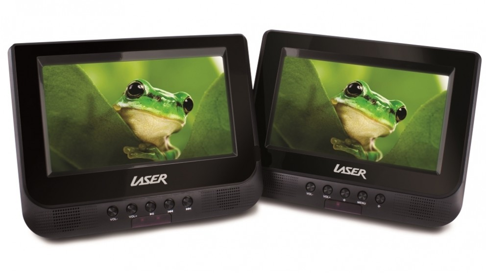 Laser 7-inch Dual Screen In-Car Portable DVD Player