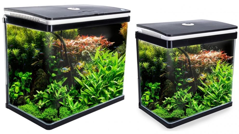 Dynamic Power Aquarium Curved Glass RGB LED Fish Tank Set Filter Pump