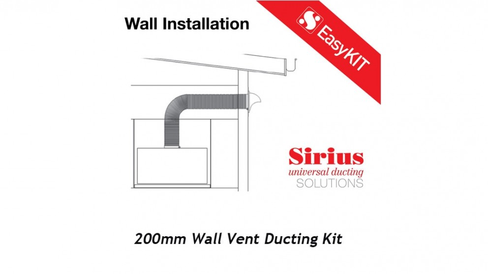 Sirius 200mm Easy Wall Ducting Kit