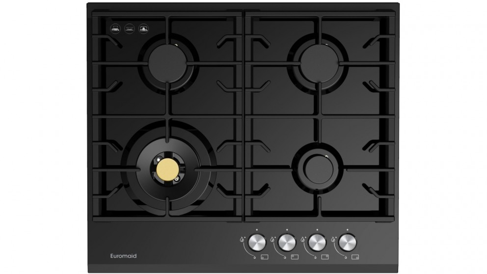 Euromaid Eclipse 600mm 4 Burner Black Glass Gas Cooktop