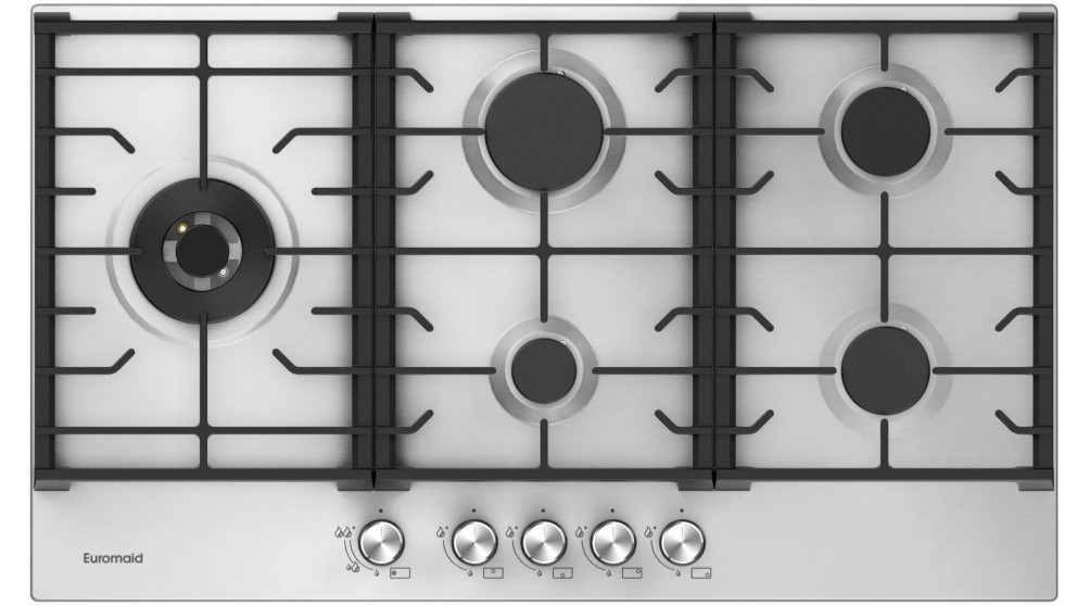Euromaid Eclipse 900mm 5 Burner Stainless Steel Gas Cooktop