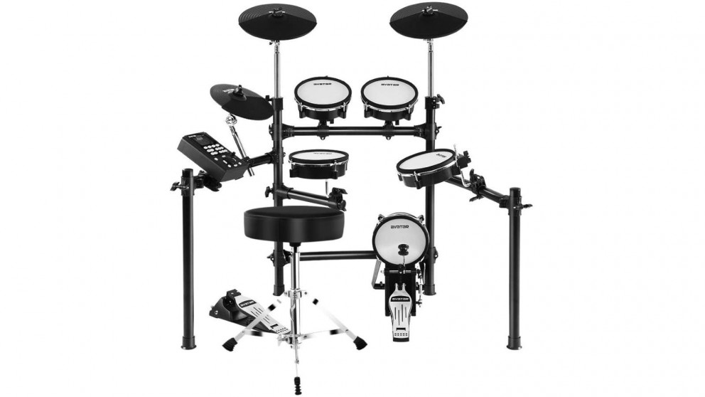 8 Piece Electric Electronic Drum Kit Mesh Drums Set Pad + Stool
