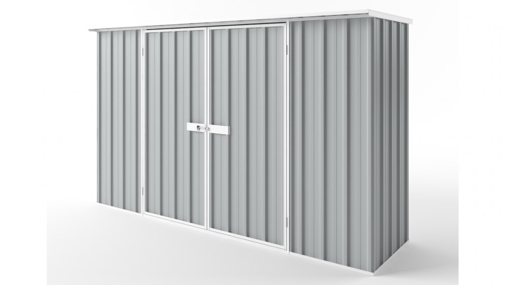 EasyShed D3008 Flat Roof Garden Shed - Gull Grey