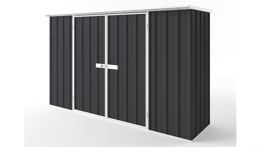 EasyShed D3008 Flat Roof Garden Shed - Iron Grey