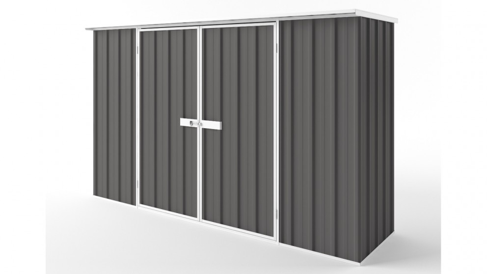 EasyShed D3008 Flat Roof Garden Shed - Slate Grey