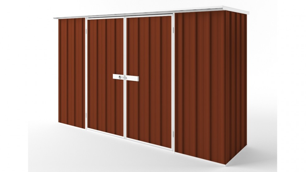 EasyShed D3008 Flat Roof Garden Shed - Tuscan Red