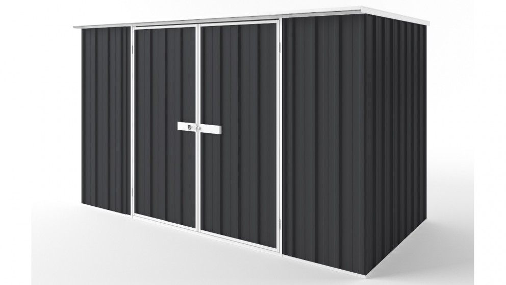 EasyShed D3015 Flat Roof Garden Shed - Iron Grey