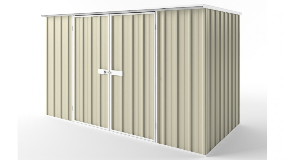 EasyShed D3015 Flat Roof Garden Shed - Smooth Cream