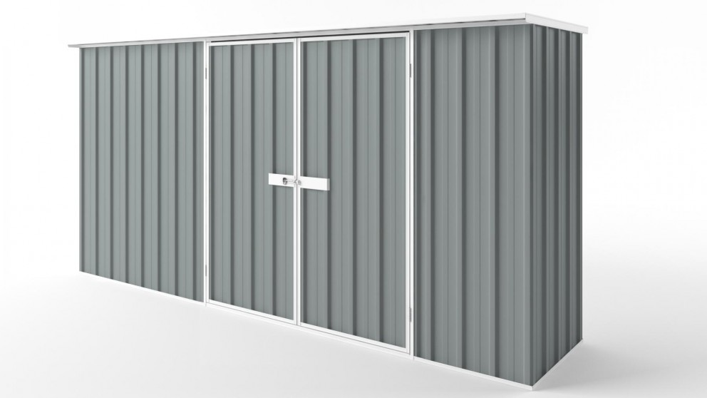 EasyShed D3808 Flat Roof Garden Shed - Armour Grey