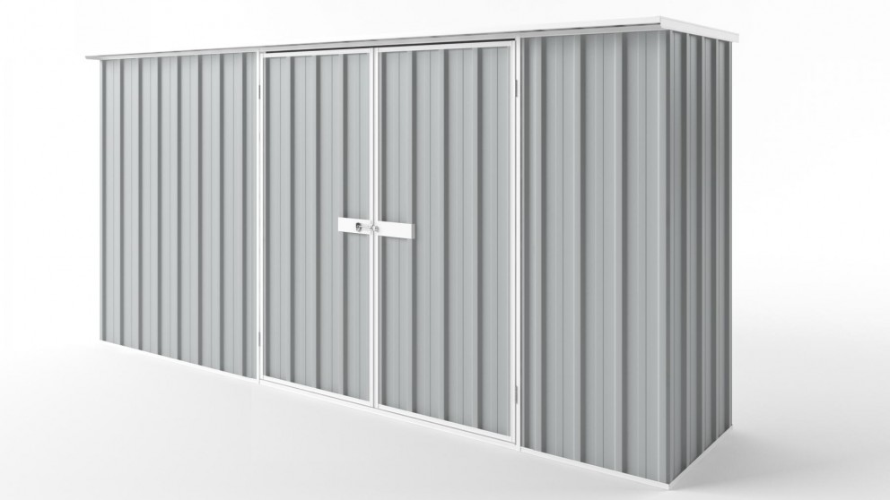 EasyShed D3808 Flat Roof Garden Shed - Gull Grey