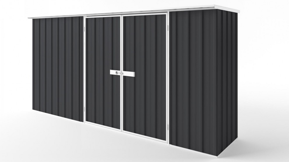 EasyShed D3808 Flat Roof Garden Shed - Iron Grey