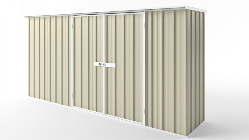 EasyShed D3808 Flat Roof Garden Shed - Smooth Cream