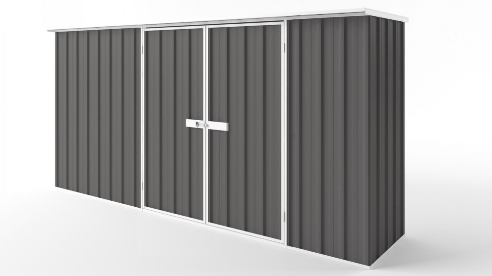 EasyShed D3808 Flat Roof Garden Shed - Slate Grey