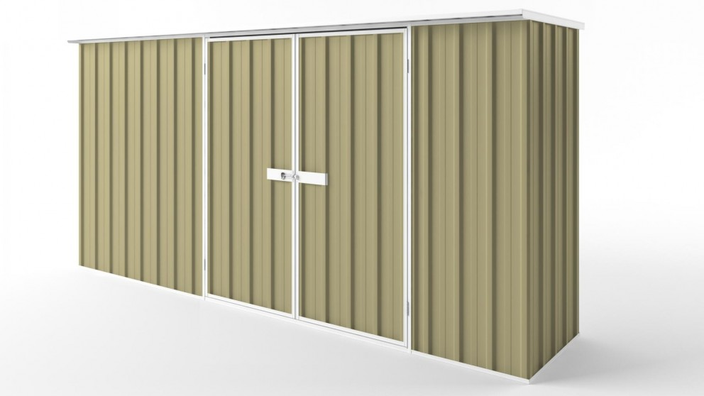 EasyShed D3808 Flat Roof Garden Shed - Sandalwood