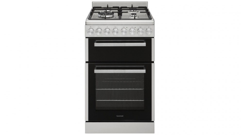 Euromaid 540mm Front Control Dual Fuel Freestanding Cooker - White