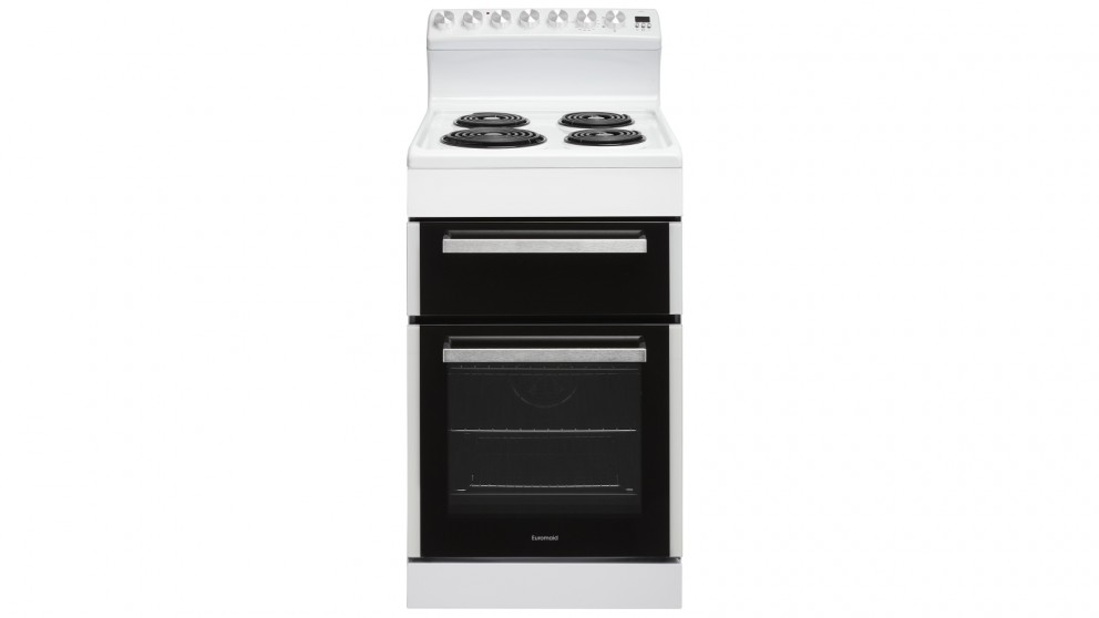 Euromaid 540mm Rear Control Electric Freestanding Cooker with Coil Cooktop - White