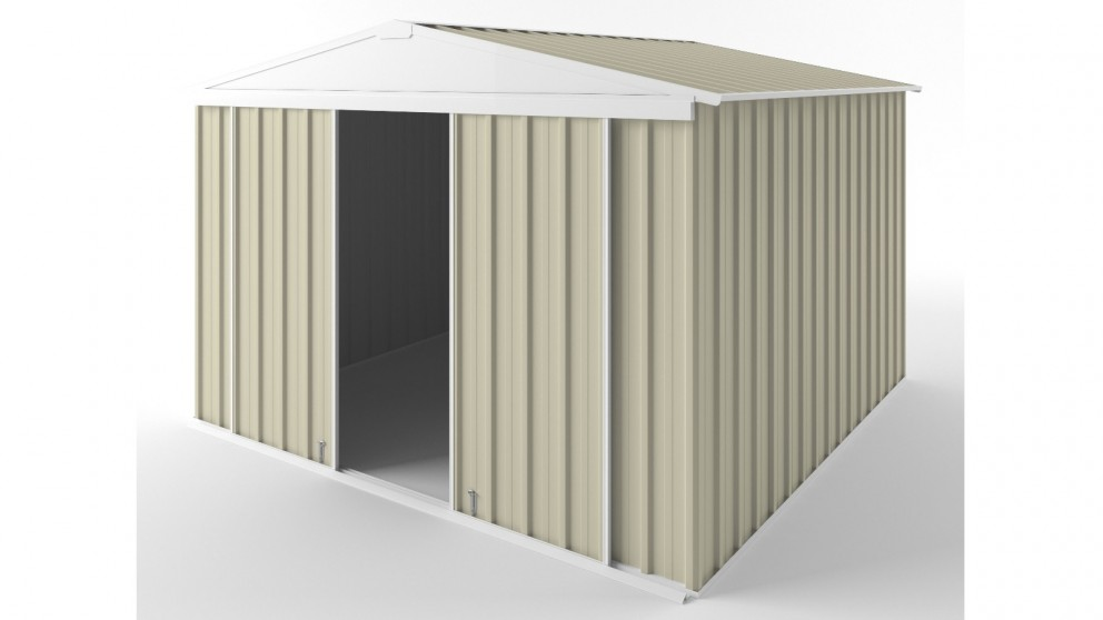 EasyShed D3030 Gable Slider Roof Garden Shed - Smooth Cream
