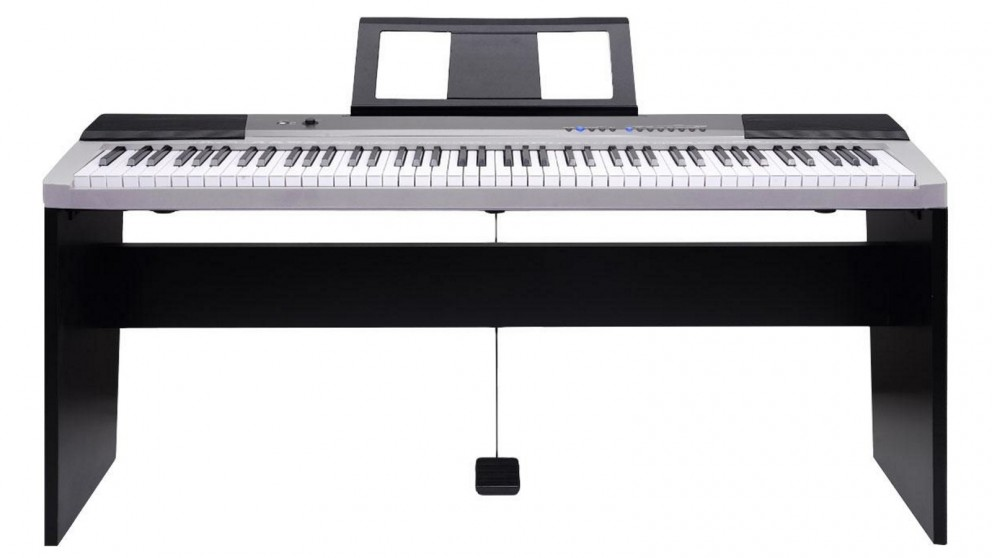 Karrera 88 Keys Keyboard with Stand Music Sheet Pedal - Silver