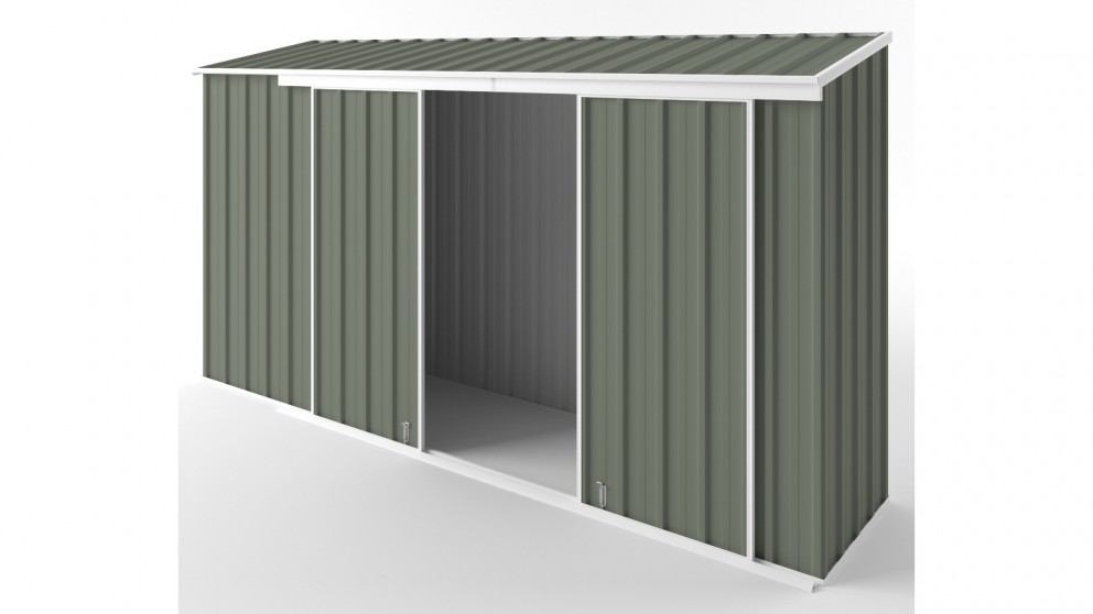 EasyShed D3808 Narrow Slider Garden Shed - Mist Green