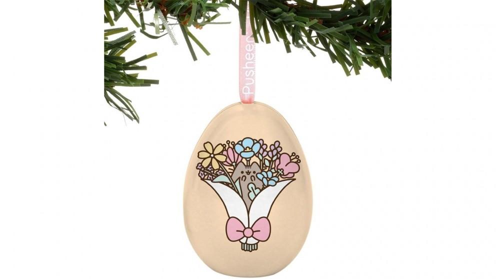 Pusheen Tin Egg Ornament - Bouquet