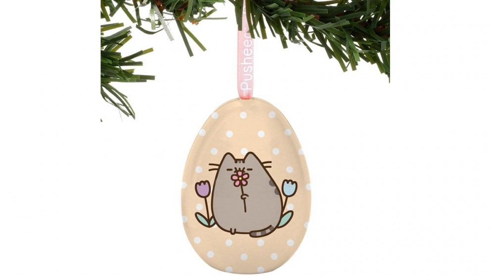 Pusheen Tin Egg Ornament - May Flowers