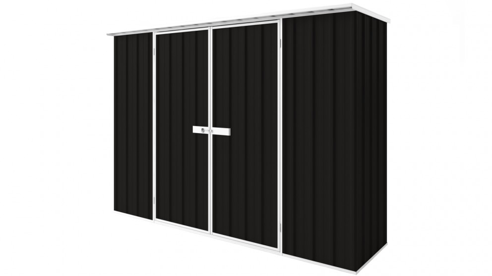 EasyShed D3008 Tall Flat Roof Garden Shed - Ebony