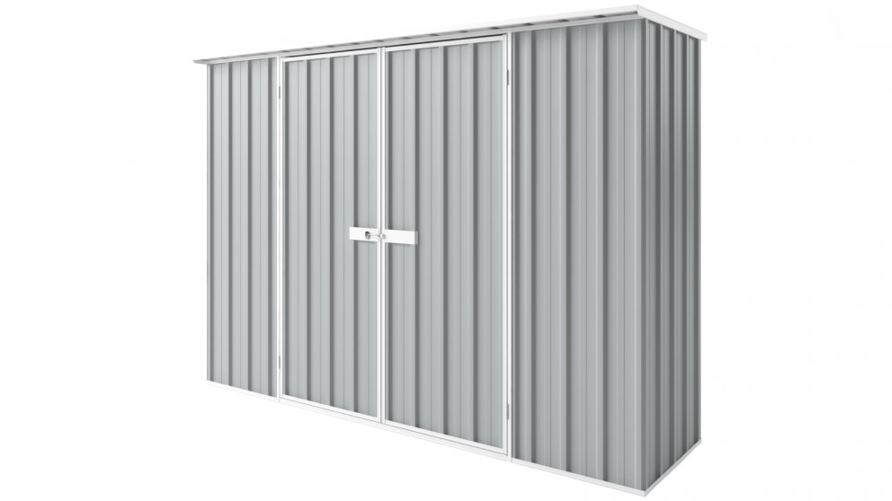 EasyShed D3008 Tall Flat Roof Garden Shed - Gull Grey