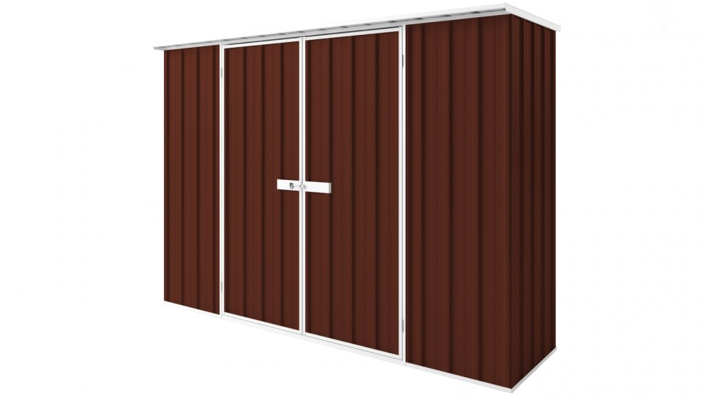 EasyShed D3008 Tall Flat Roof Garden Shed - Heritage Red