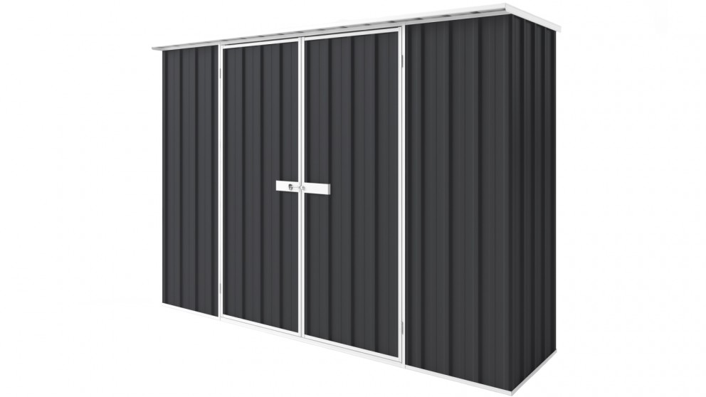EasyShed D3008 Tall Flat Roof Garden Shed - Iron Grey