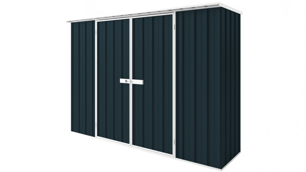 EasyShed D3008 Tall Flat Roof Garden Shed - Mountain Blue