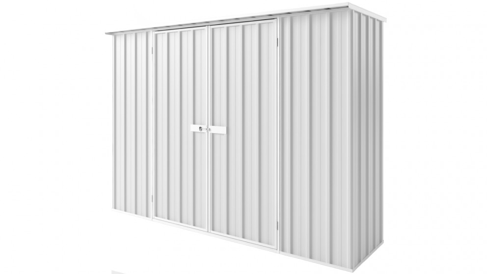 EasyShed D3008 Tall Flat Roof Garden Shed - Off White