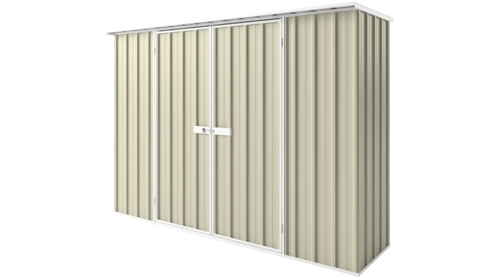 EasyShed D3008 Tall Flat Roof Garden Shed - Smooth Cream