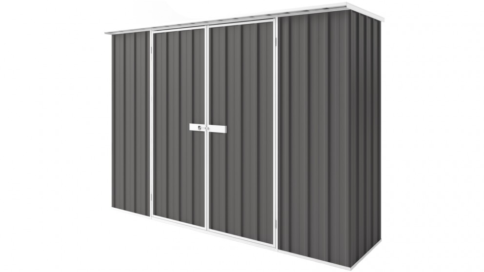 EasyShed D3008 Tall Flat Roof Garden Shed - Slate Grey