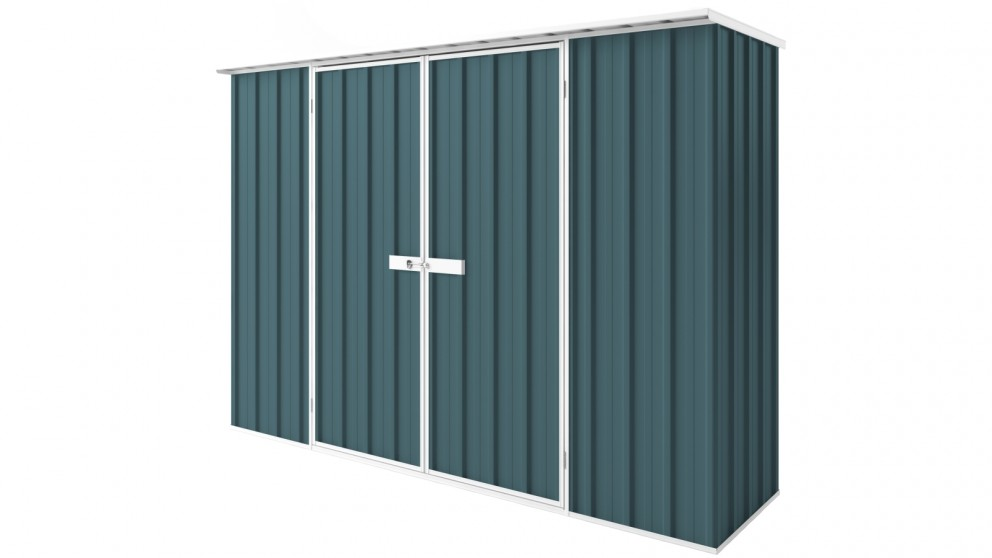 EasyShed D3008 Tall Flat Roof Garden Shed - Torres Blue