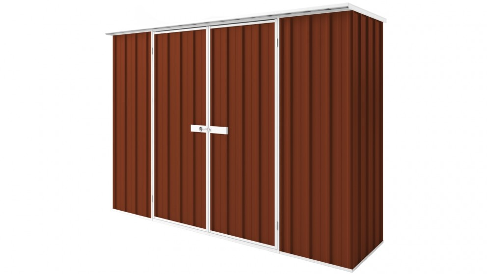 EasyShed D3008 Tall Flat Roof Garden Shed - Tuscan Red