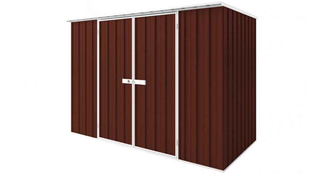 EasyShed D3015 Tall Flat Roof Garden Shed - Heritage Red