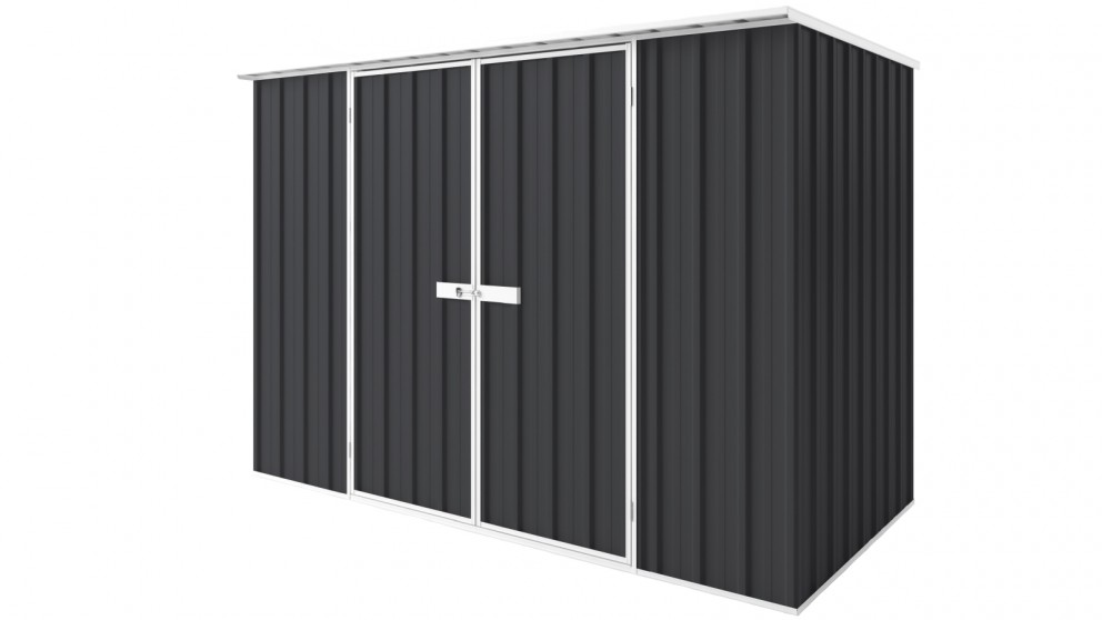 EasyShed D3015 Tall Flat Roof Garden Shed - Iron Grey