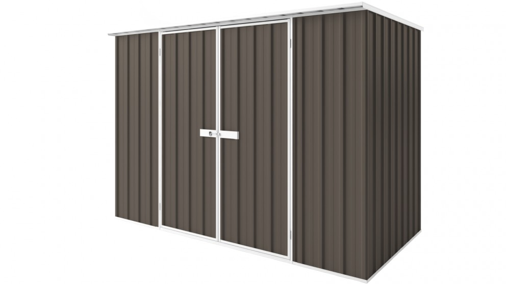 EasyShed D3015 Tall Flat Roof Garden Shed - Jasmine Brown