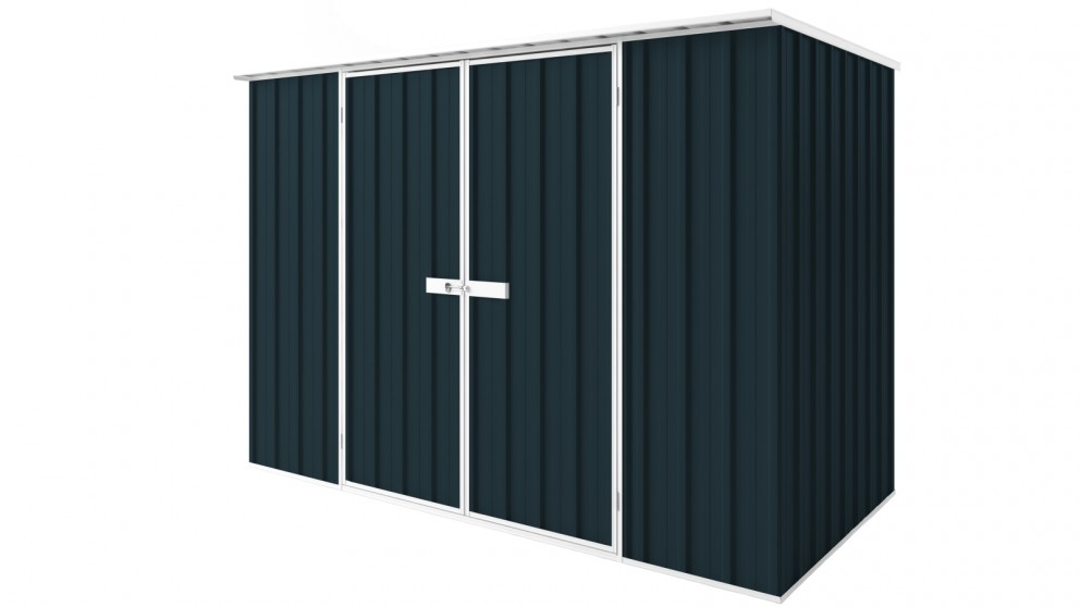 EasyShed D3015 Tall Flat Roof Garden Shed - Mountain Blue