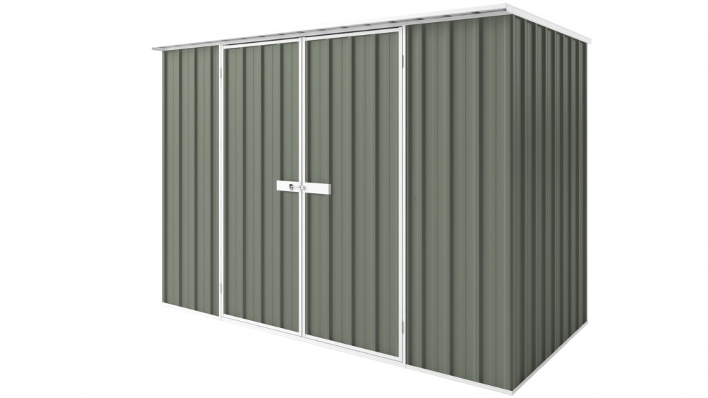 EasyShed D3015 Tall Flat Roof Garden Shed - Mist Green
