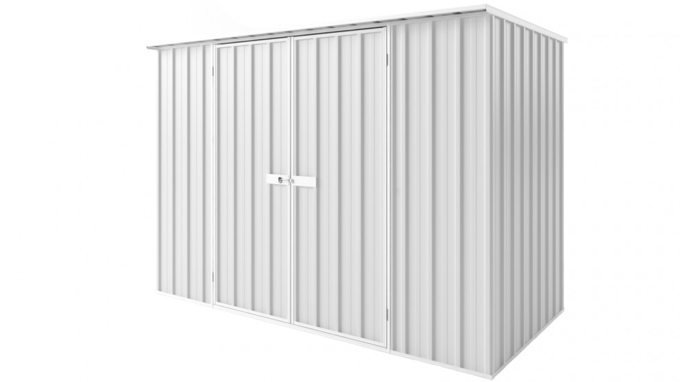 EasyShed D3015 Tall Flat Roof Garden Shed - Off White