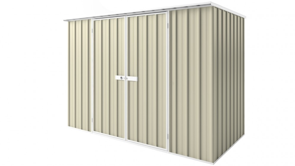 EasyShed D3015 Tall Flat Roof Garden Shed - Smooth Cream