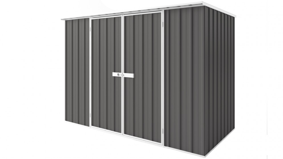EasyShed D3015 Tall Flat Roof Garden Shed - Slate Grey