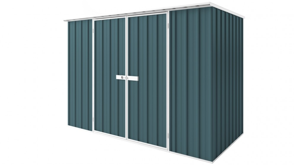EasyShed D3015 Tall Flat Roof Garden Shed - Torres Blue