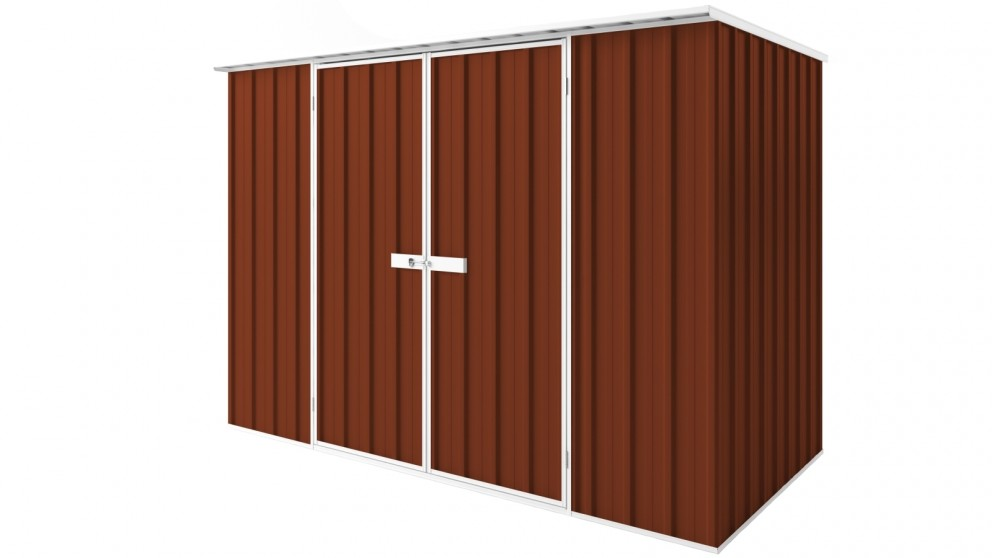 EasyShed D3015 Tall Flat Roof Garden Shed - Tuscan Red