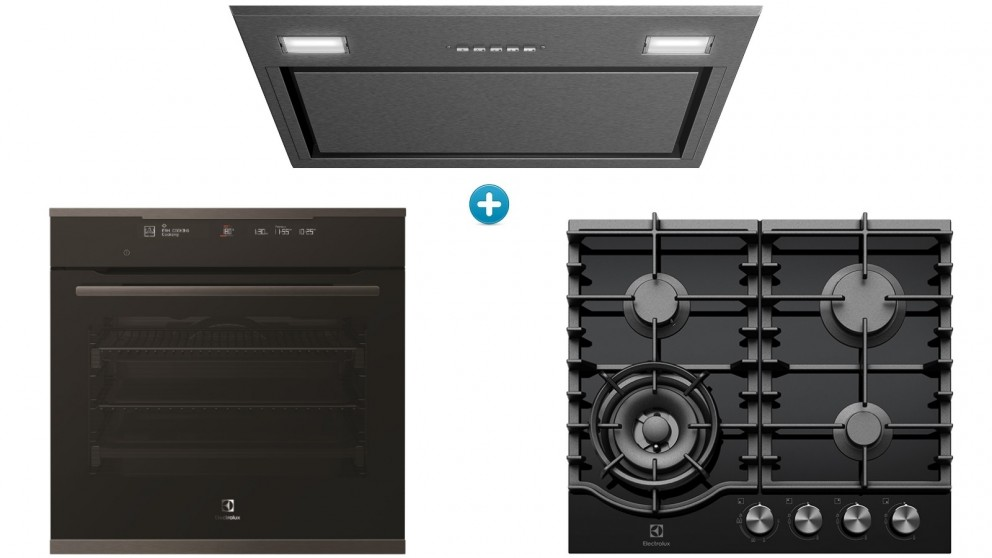 Electrolux 60cm Single Pyrolytic Oven with Ceramic Gas Cooktop and Integrated Rangehood