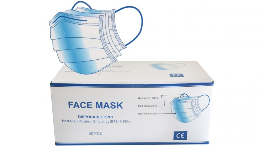 3 Ply Disposable Protective Face Masks - 50 Pack
