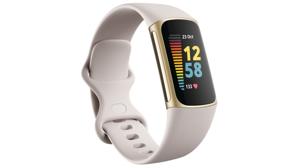 Fitbit Charge 5 Fitness Tracker - Lunar White/Soft Gold