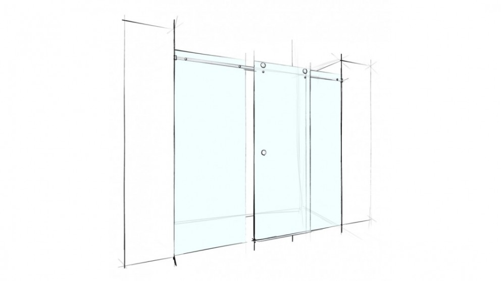 Verotti Custom 2500mm Front Only Wall to Wall 3 Panels Sliding Shower Screen - Clear