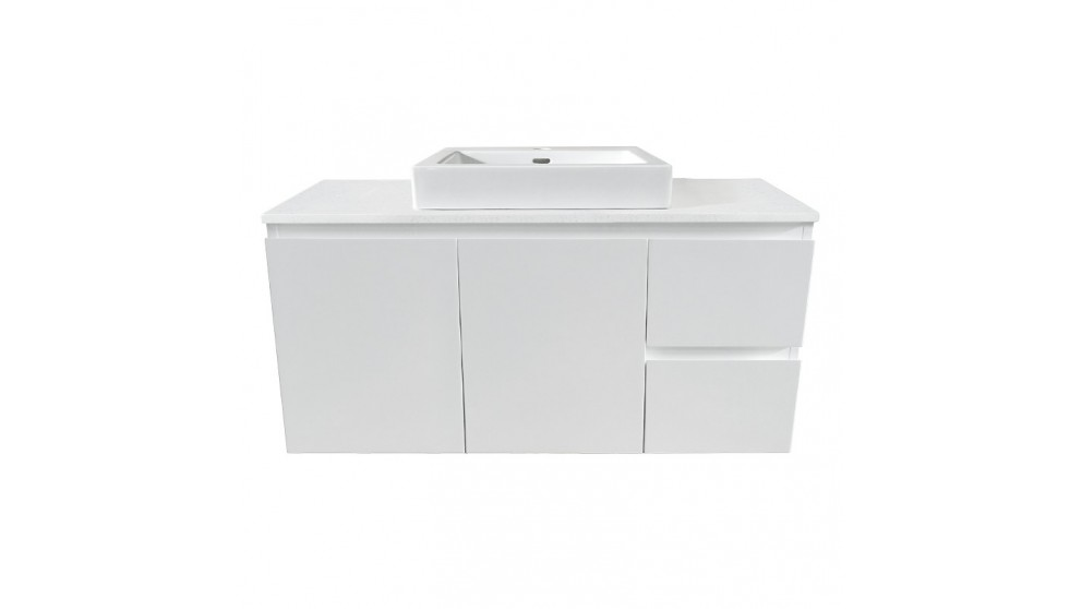 Forme Fifth Avenue 900mm Right Side Drawer Wall Hung Vanity - Colourstone